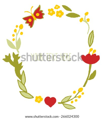 Cute floral frame.Floral wreath banner. Floral Frame. Cute retro flowers arranged un a shape of the wreath perfect for wedding invitations and birthday cards - stock vector