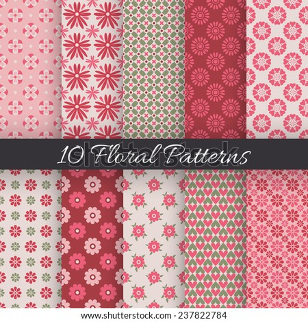 10 Cute floral seamless patterns. Vector illustration for beauty design. White, red, green and rose colors. Endless texture can be used for wallpaper, pattern fill, web page background. - stock vector