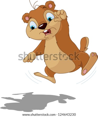 Cute groundhog scared of their own shadow. Perfect for Groundhog Day. - stock vector