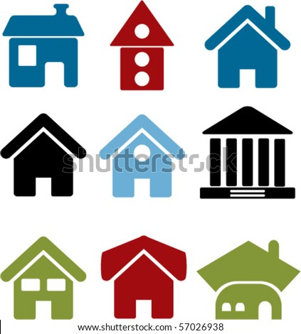 9 cute houses. vector - stock vector