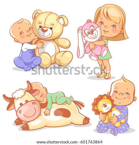 cute kids with plush toys. Boy hold teddy bear. Baby sleep on big toy cow. Happy girl play with soft toy rabbit. Toddler with plush lion friend.
