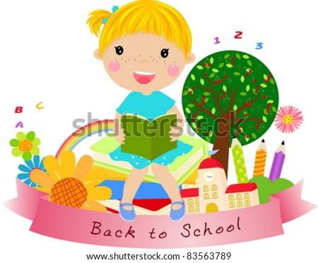 cute little girl,back to school - stock vector