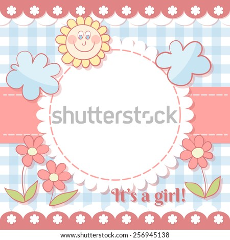 Cute photo frame. Baby shower card. Scrapbook elements. Vector illustration. EPS10 - stock vector