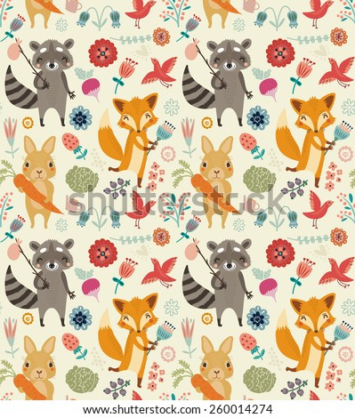 Cute seamless pattern with animals and flowers - stock vector