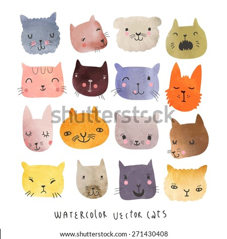 16 Cute watercolor cats in vector - stock vector