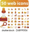 50 cute web icons - vector set (easy edit) - vol. 25 - stock vector