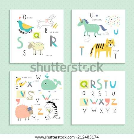 Cute zoo alphabet in vector . Q, R, S, T, U, V, W, X, Y, Z letters. Four funny cards with animals. - stock vector