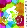 Cyclist with his road bike colorful spots and splash vector background - stock vector