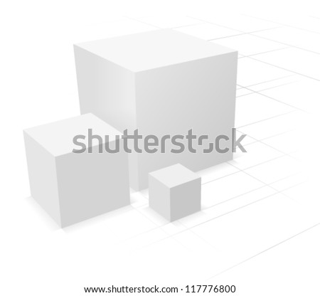 3d abstract background, three cube on white background with grid - stock vector