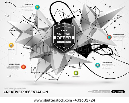 3D abstract background with black paint stain and geometric shapes. Vector design layout for business presentations, flyers, posters. Scientific future technology background. Geometry polygon. - stock vector
