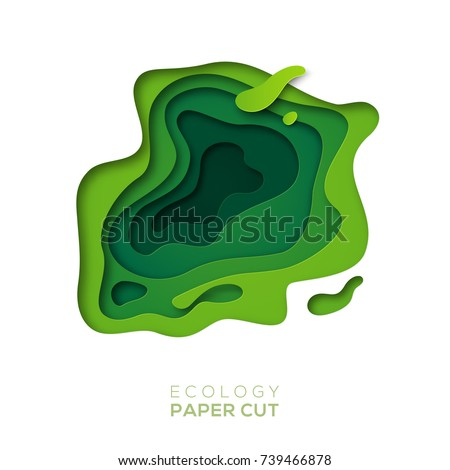 3D abstract background with green paper cut shapes. Vector design layout for business presentations, flyers, posters and invitations. Colorful carving art, environment and ecology design elements