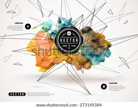 3D abstract background with paint stain and geometric shapes. Vector design layout for business presentations, flyers, posters. Scientific future technology background. - stock vector