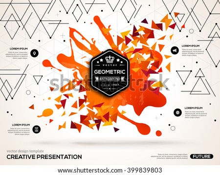 3D abstract background with paint stain and geometric triangles shapes. Vector design layout for business presentations, flyers, posters. Scientific future technology background. - stock vector