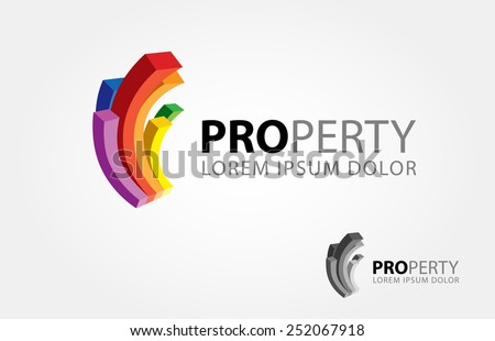 3 D Abstract color curve bar symbolize a building or property. - stock vector