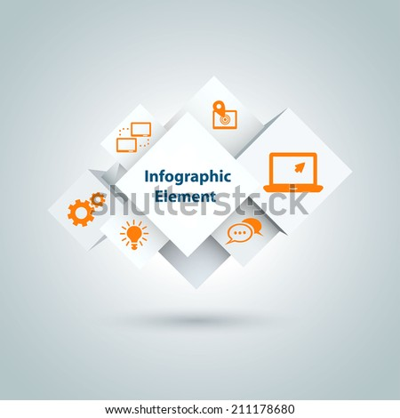 3d  abstract cubes infographic with icons. Vector illustration. Eps 10. - stock vector