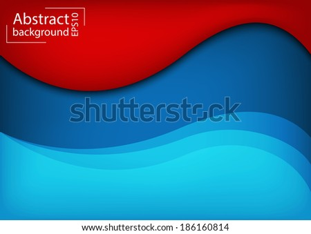 3D Abstract curve overlap on blue and red background used for web design.EPS 10 format - stock vector