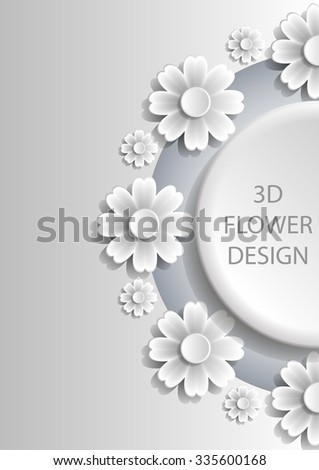 3D Abstract floral cover design with shadows. Vector EPS10.