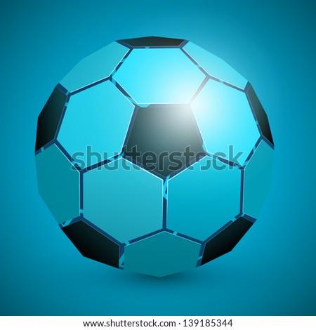 3d abstract soccer ball blue - stock vector