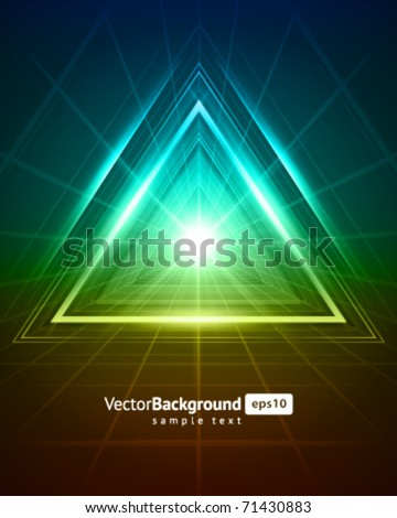 3D abstract triangle tunnel vector background - stock vector