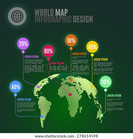 3D Abstract World Map Infographics Design Template. Vector Illustration - stock vector