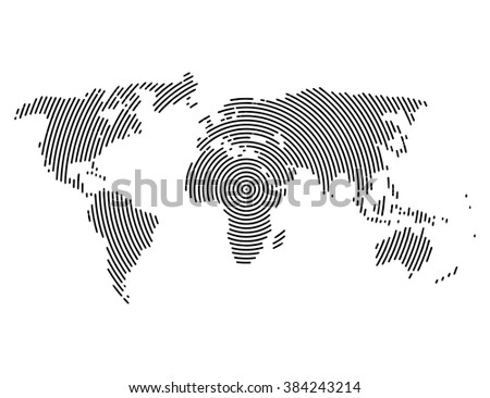 3d abstract world map planet, lines, global radial halftone concept. - stock vector