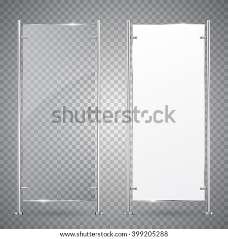 3d Advertising Stand Banner. Vector  Illustration Isolated On Transparent Background. Mock-up template for designers. Vector EPS10 - stock vector