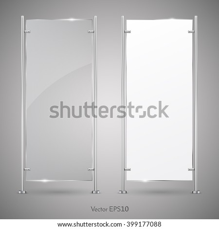 3d Advertising Vertical Stand glass And Blank White Banner. Vector  Illustration. Mock-up Template For Designers. Vector EPS10