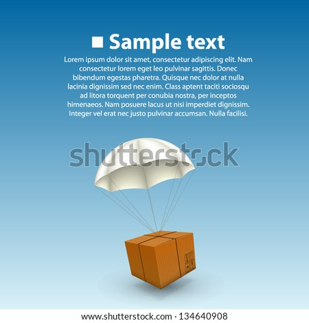 3d air parcel, Parachute paper box sing, Delivery background, Vector illustration - stock vector