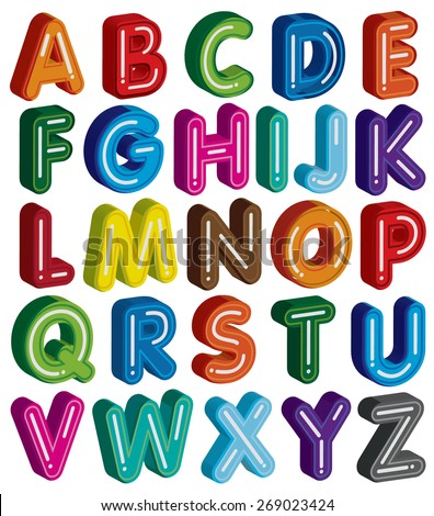 3D alphabet colorful font style - stock vector