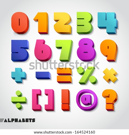 3D alphabet colorful numbers. Vector illustration.