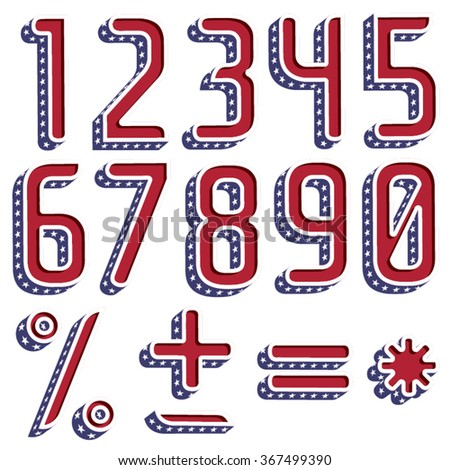 3d American font with the official flag colors and stars on each letter. Part 2/2 numbers and symbols - stock vector