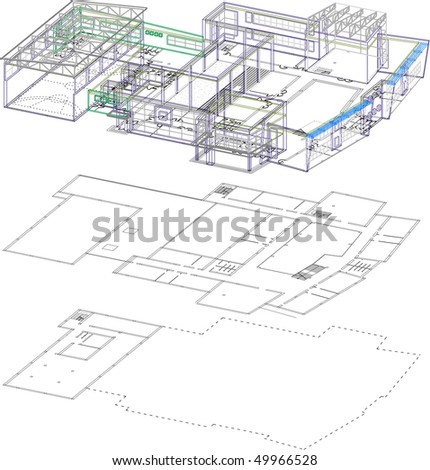 3D and 2D of school building - stock vector