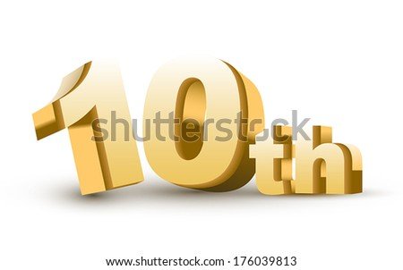 3d anniversary, 10th, isolated on white background