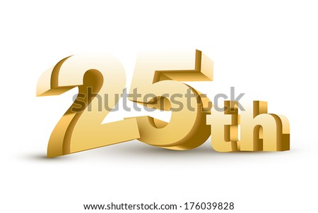 3d anniversary, 25th, isolated on white background