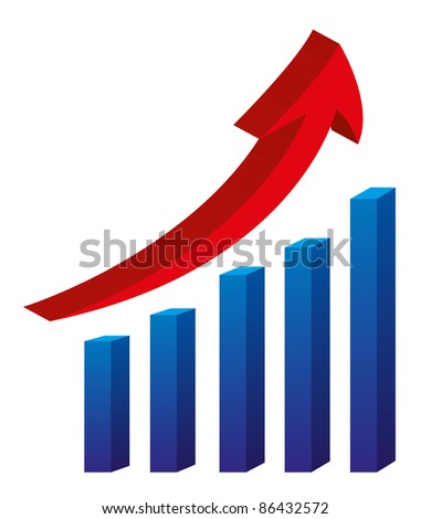 3d arrow and bar graph isolated over white background  vector - stock vector