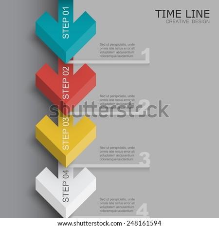 3d arrow time line template - stock vector