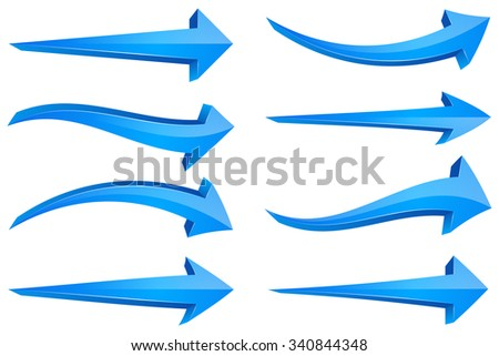 3D Arrows Pointing Right with Blue Gloss Effect
