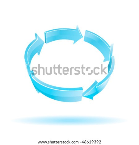 3D Arrows. Recycle symbol. Vector colorful illustration.