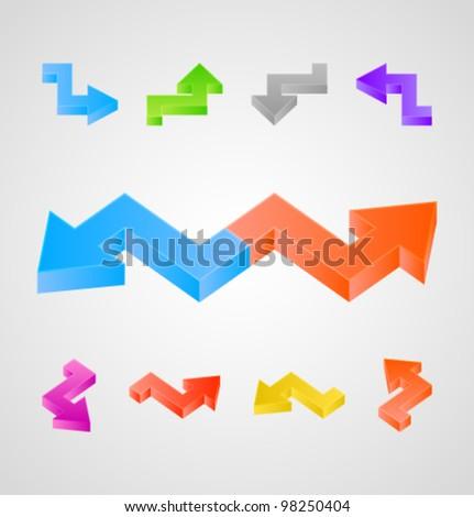 3d arrows set - stock vector