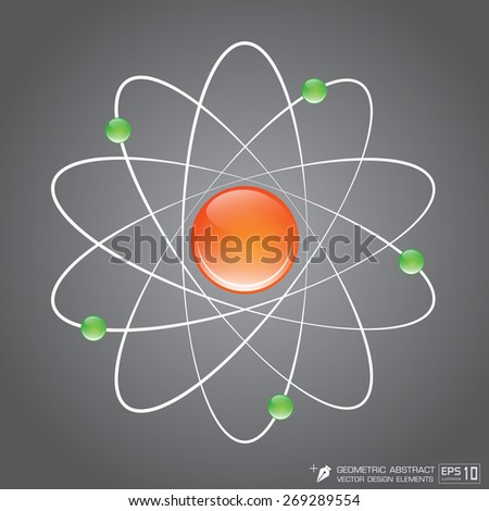 3D Atom structure Full color on Gray background vector EPS10 Illustration - stock vector