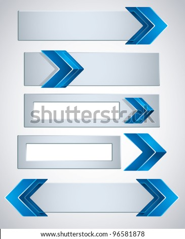 3d banners finished with blue arrows, contain copy spaces for your text . Vector modern style design elements collection. - stock vector
