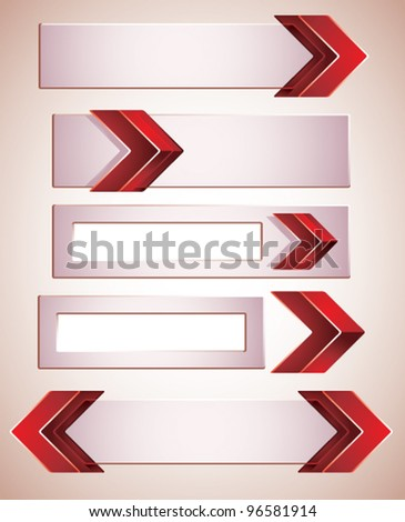 3d banners finished with red arrows, contain copy spaces for your text . Vector modern style design elements collection.