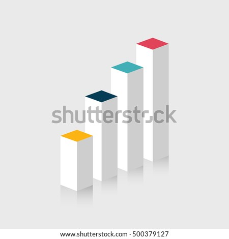 3D Bar chart Infographic element. Vector illustration