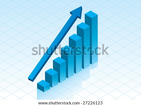 3D Bar graph showing positive growth in glossy blue - stock vector
