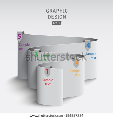 3d bend paper with data / step by step - stock vector