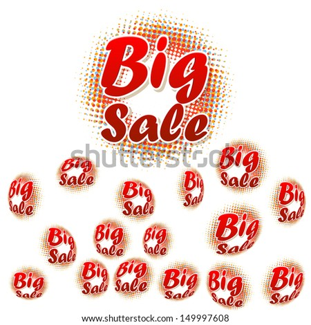 3D big sale text on halftone pattern. EPS 10