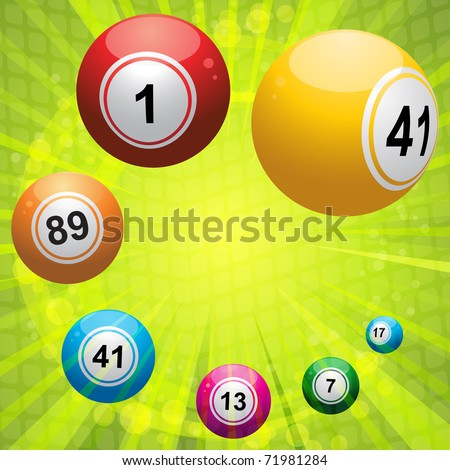 3d bingo balls on a green starburst background with mosaic detail - stock vector