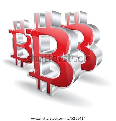 3d Bit Coin Vector Sign  - stock vector