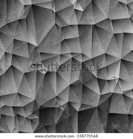 3d black and white paper background with grunge texture. Vector EPS10 - stock vector