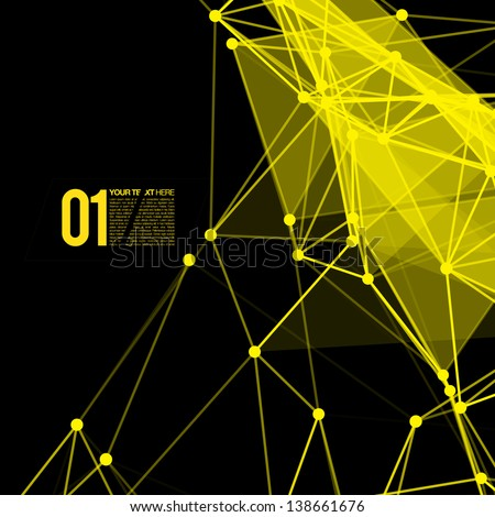3D Black and Yellow Abstract Mesh Background with Circles, Lines and Shapes | EPS10 Design Layout for Your Business